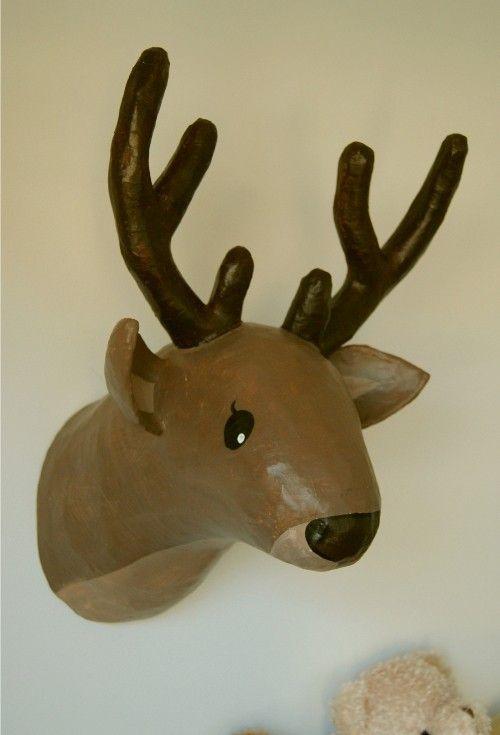 809515b71 DIY - Cabeza de ciervo de papel maché / Paper mache Deer head ...