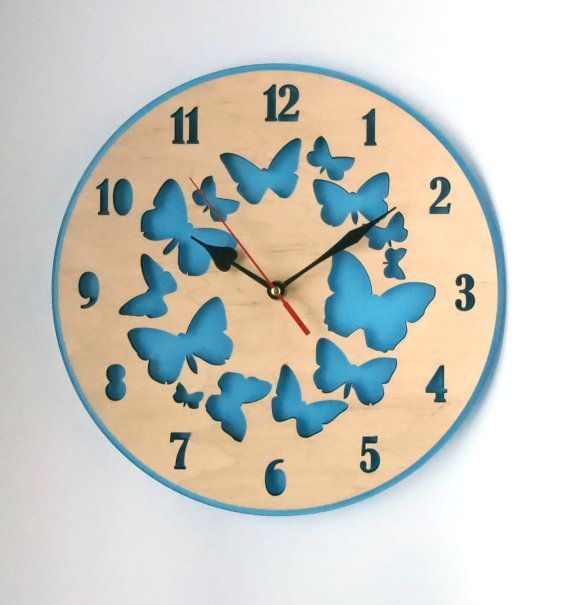 Large Wall Clock, SALE, blue wall clock with butterflies, Mother\'s ...