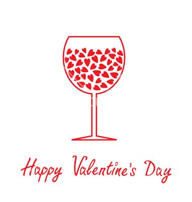 wine glass with hearts happy valentines day card vector by worldofvector on vectorstock - Valentines Day Wine