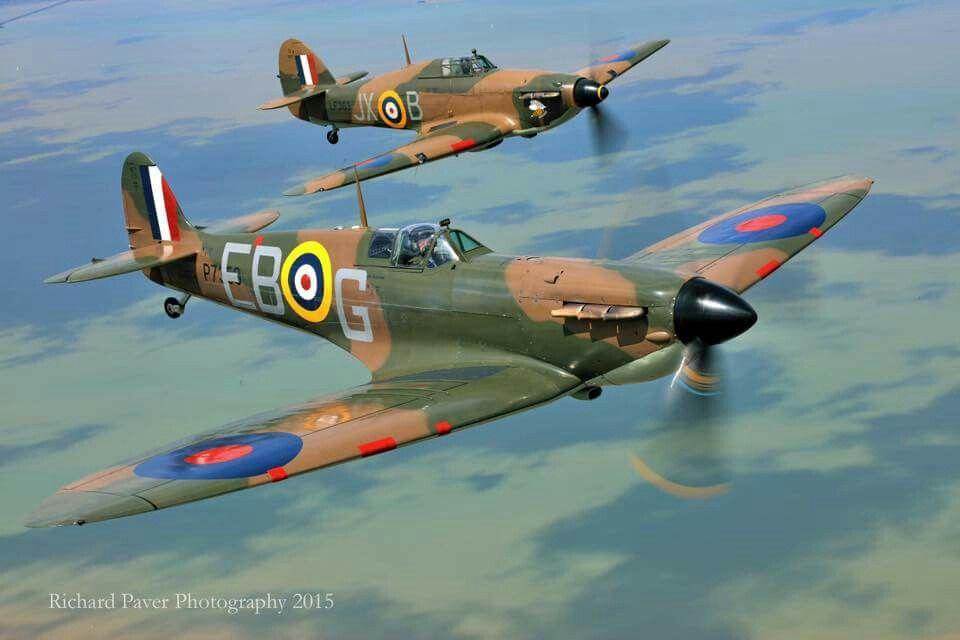 Supermarine Spitfire (front) flies alongside a Hawker Hurricane