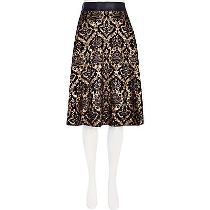 Black flocked baroque midi skirt