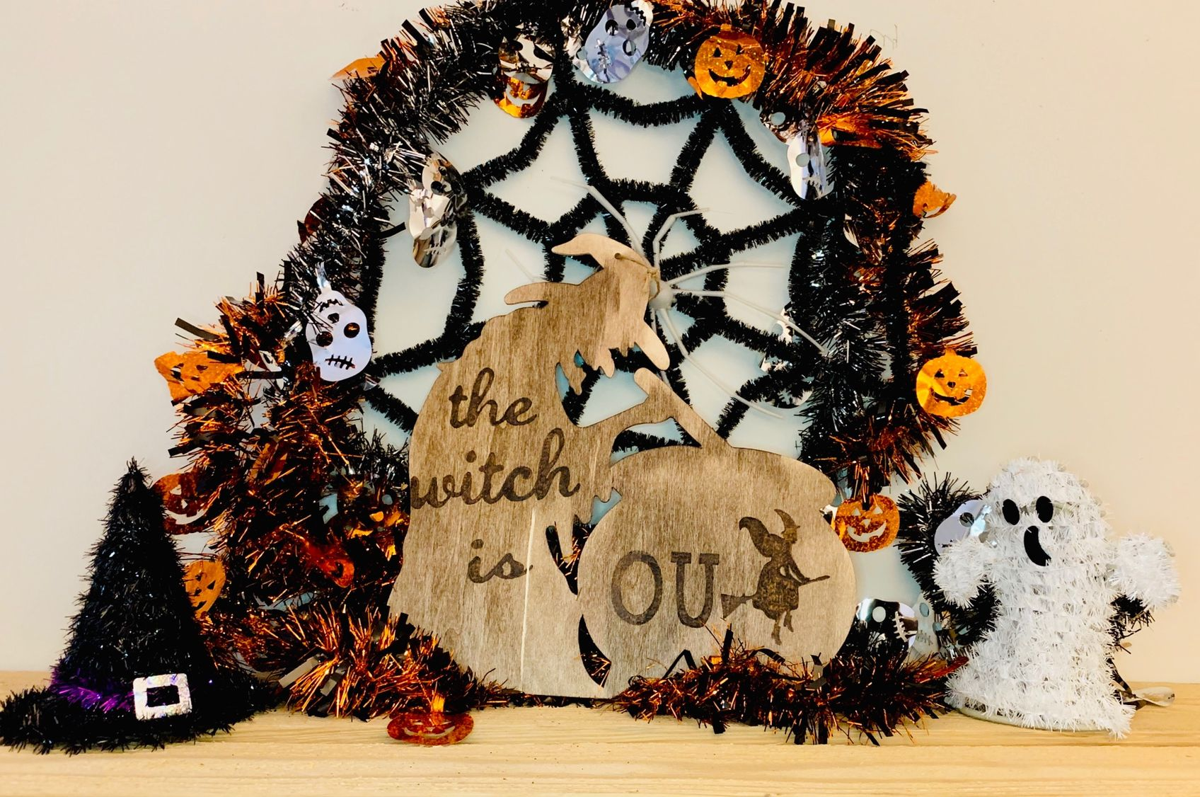 Available On Etsy With Free Shipping The Witch Is In Out Wooden Door Sign Halloweendecorations Halloween Wood Burning Art Wooden Door Signs Wreath Decor