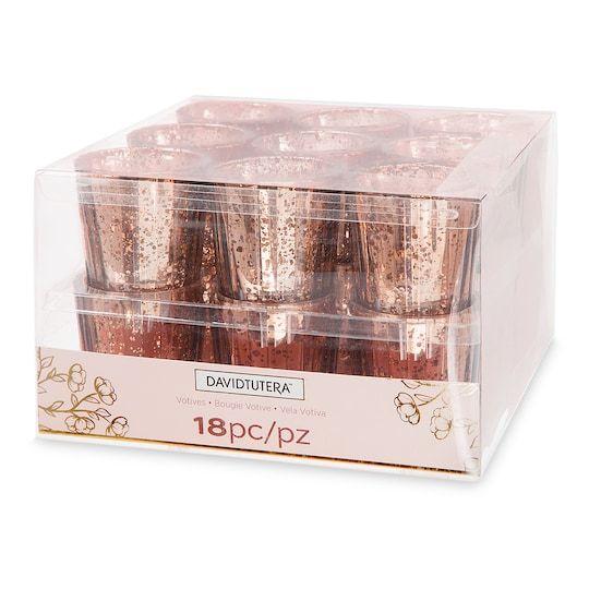 David Tutera Wedding Centerpiece Ideas: David Tutera™ Mercury Glass Votive, Rose Gold