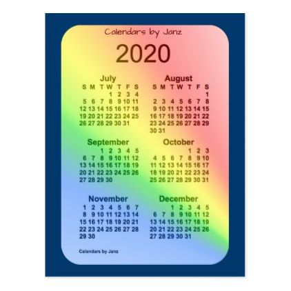 2020 Rainbow Blue 6 Month Mini Calendar by Janz Postcard