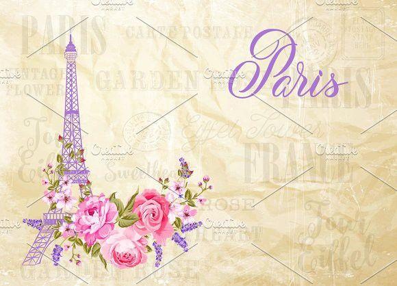 Eiffel tower simbol.. Wedding Card Templates