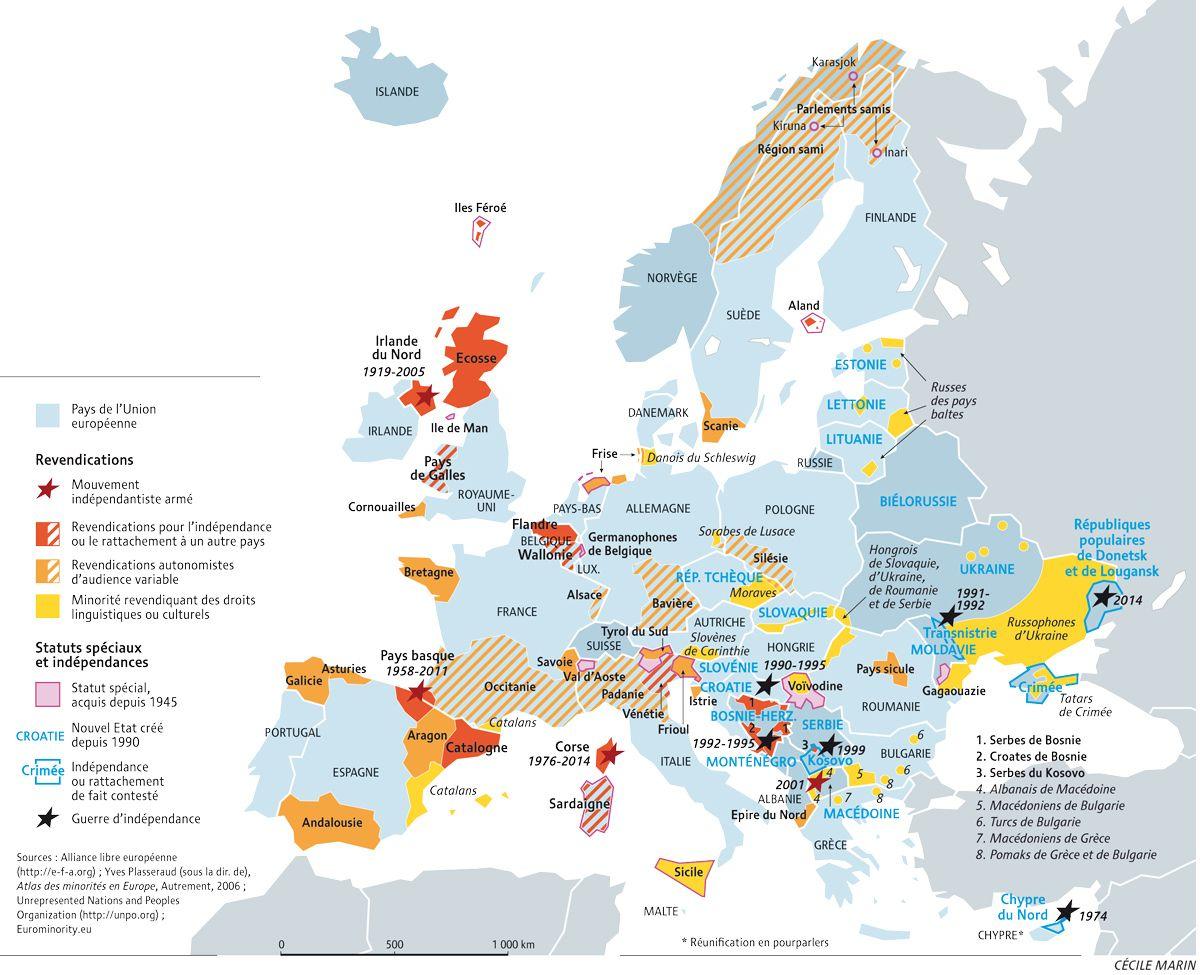 Europe Centrale Et Orientale Carte.En Europe Des Revendications Identitaires Multiformes