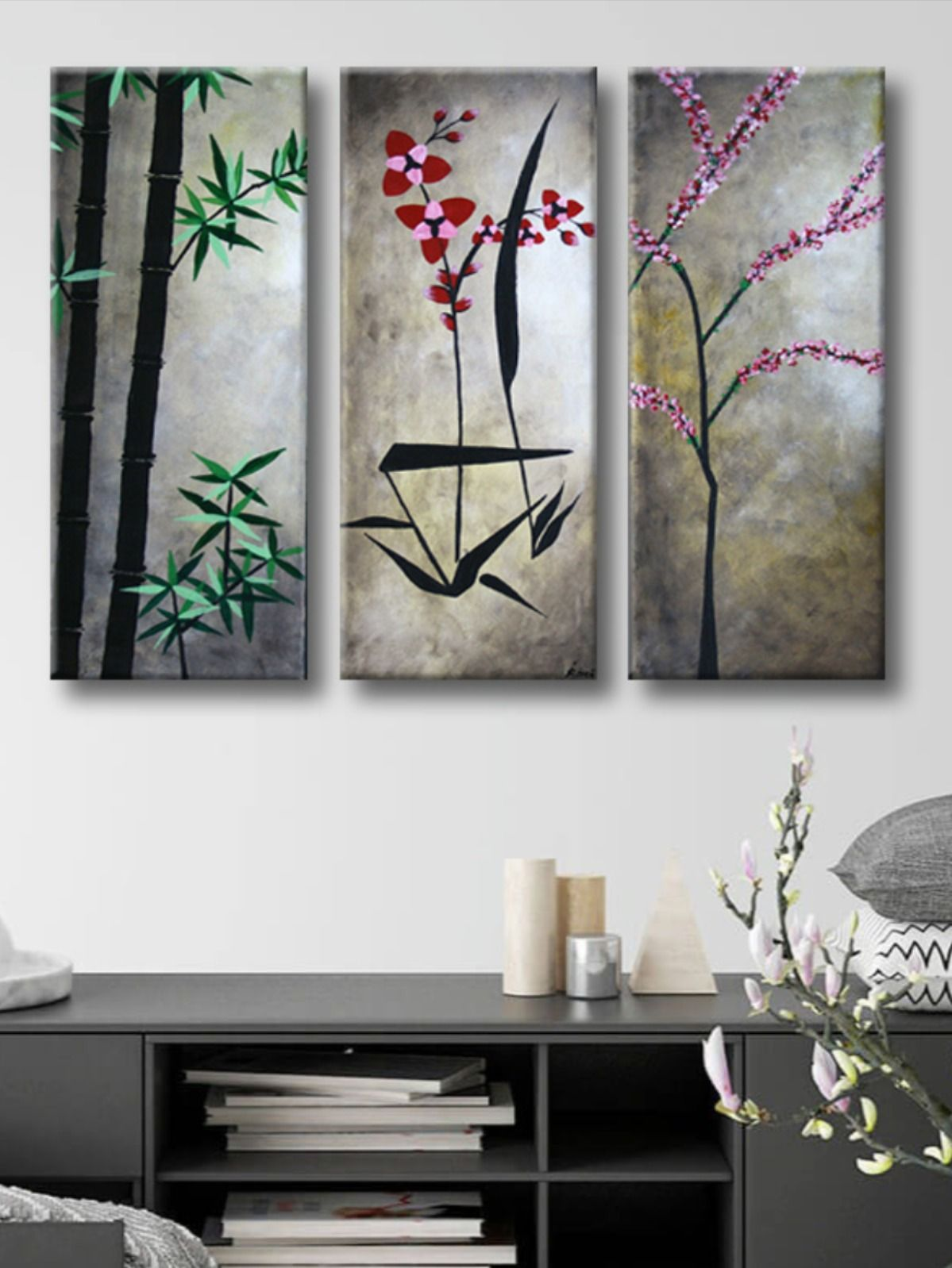 Abstract Asian Flowers Triptych Painting Original 3 Canvas Floral Acrylic On Canvas Home Wall Artwork Ready To Hang Made To Order Asian In 2020 Asian Flowers Wall Artwork Flower Painting