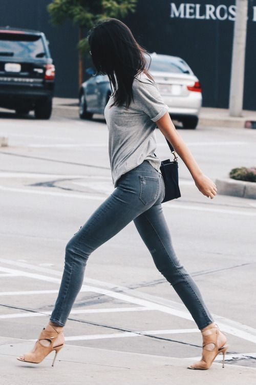 Kendall Jenner wears a gray t-shirt with jeans and nude heels: sexy and  simple. | Spring & Summer Outfit Inspiration | Pinterest | Nude, Gray and  Western ...