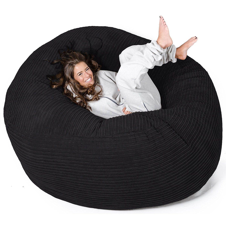 Lounge Pug Mega Mammoth Beanbag Black Cord Massive Xxl