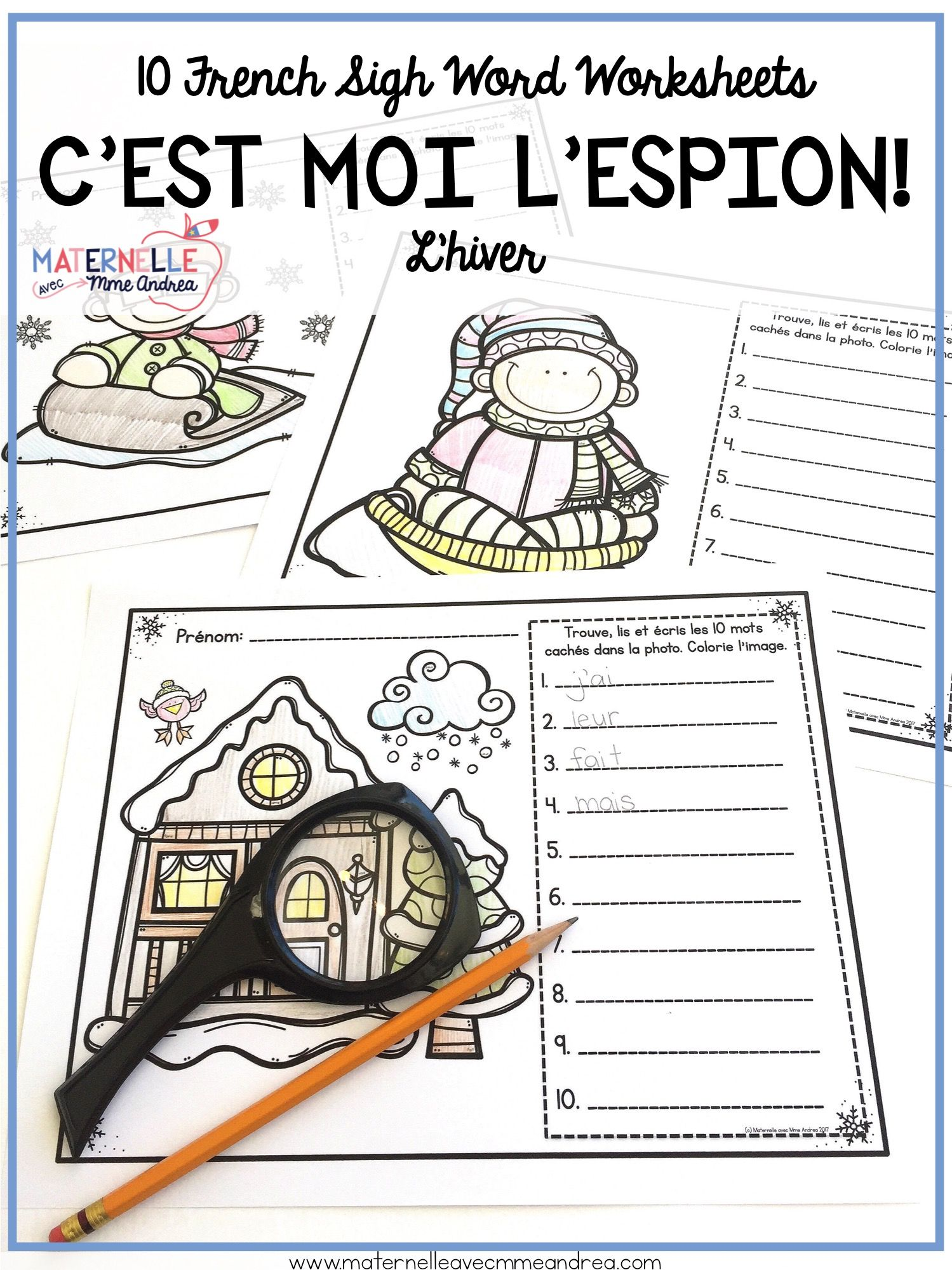 French Winter Sight Words Reading Amp Writing Practice