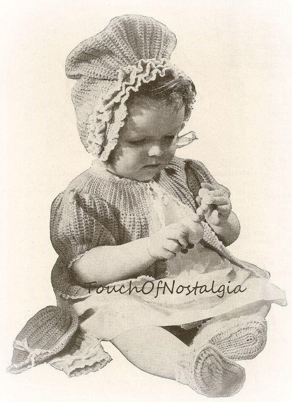 Crochet Baby LAYETTE / Sweater Set Crochet by touchofnostalgia7