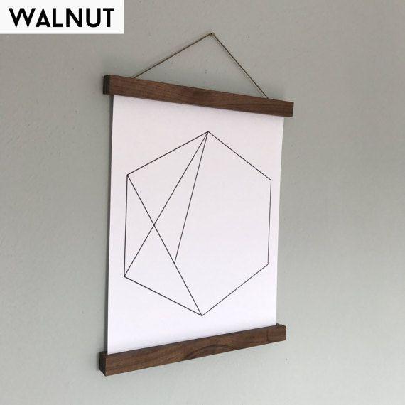 Magnetic Poster Hanger Wood Solid Walnut Print Holder Frame Art Wall Hanging