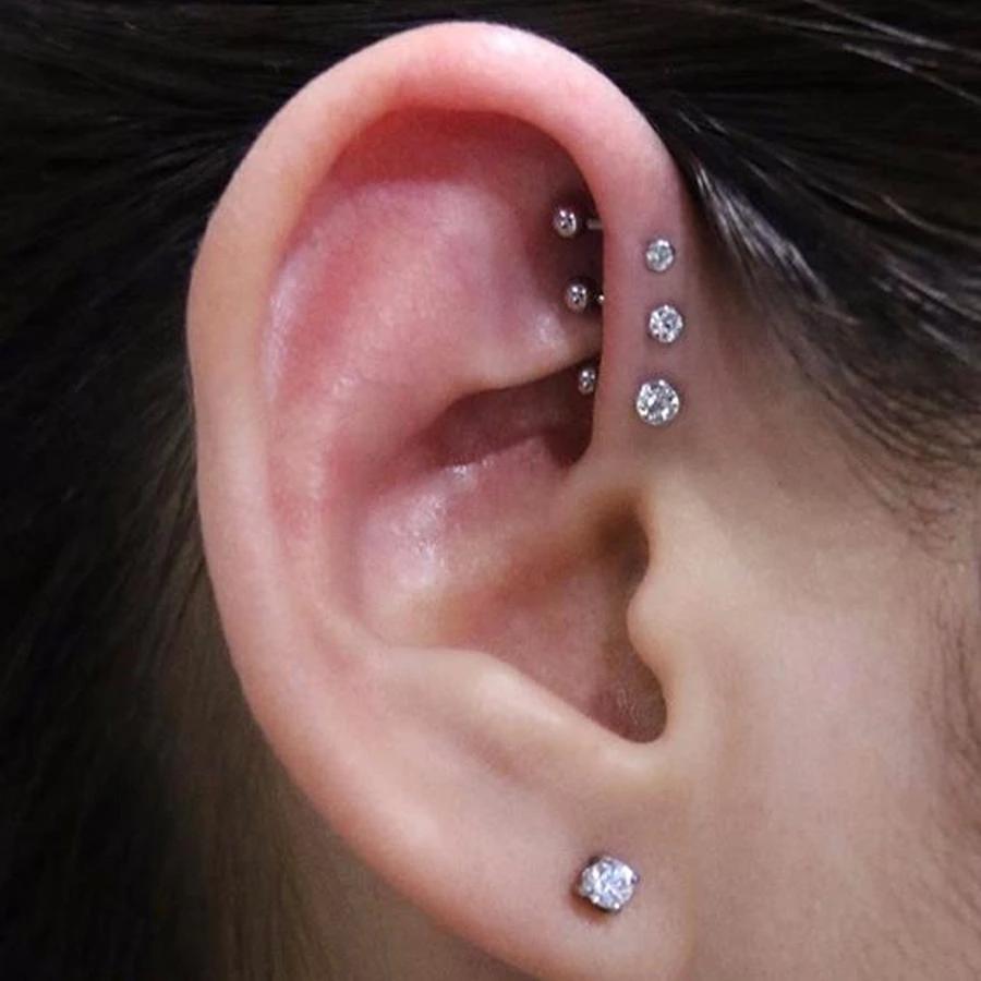 Simple Triple Forward Helix Ear Piercing Jewelry Ideas for Women - www.MyBodiArt.com