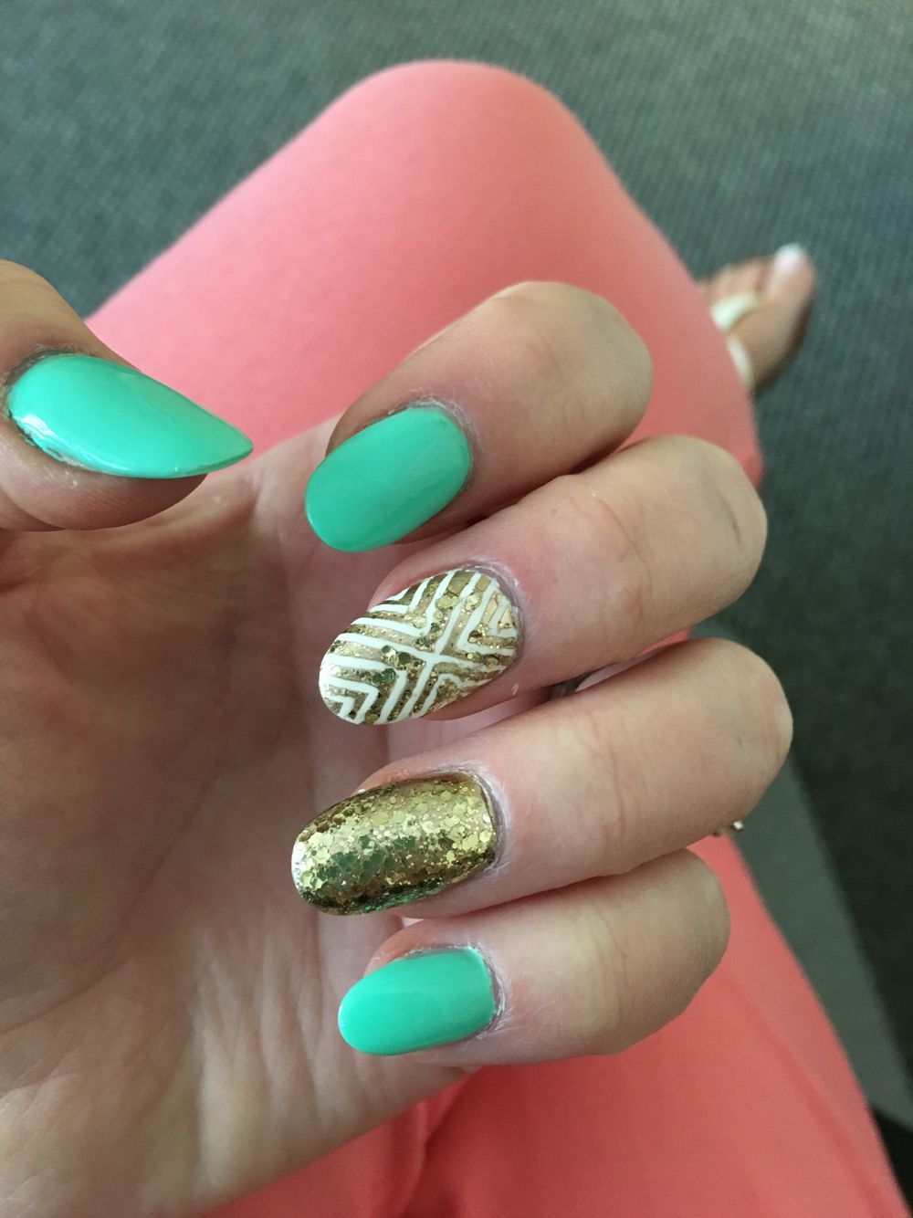 Aqua Gold Summer Nail Design My Very Own Creations Pinterest