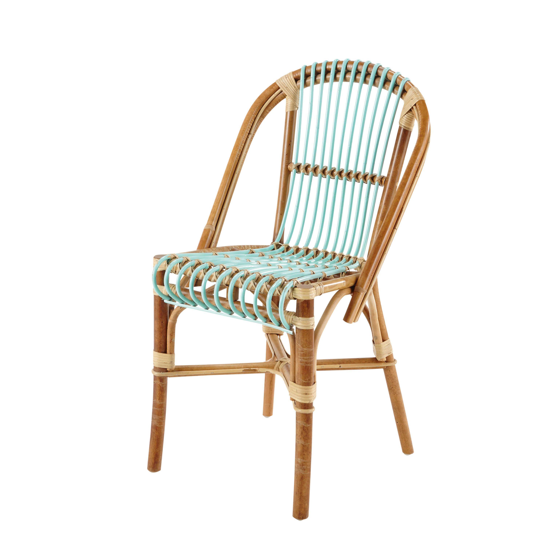 Chaise vintage en rotin vert d\'eau Florida | Exotique | Chaise ...