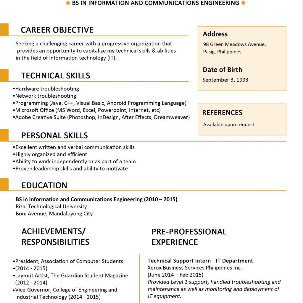 Jobstreet Resume templates, Resume, Engineering careers