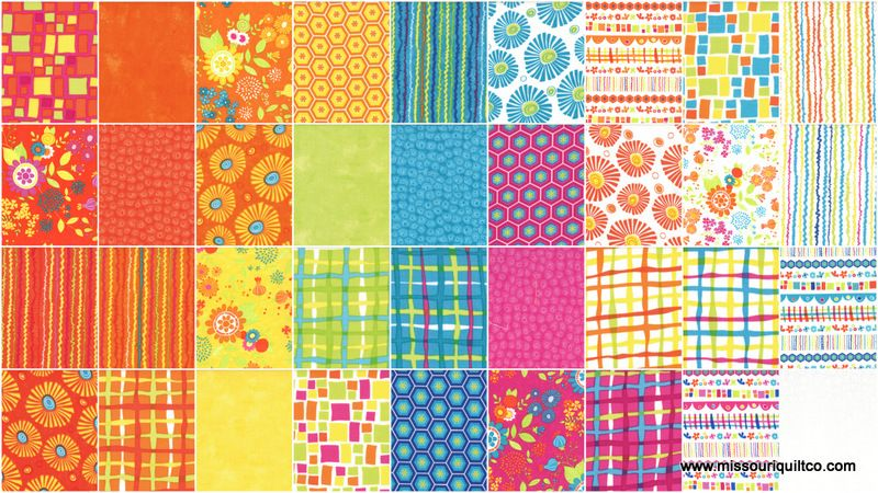 """Quilt Squares Moda Fabric by Sandy Gervais Snap Pop 5/"""" CHARM PACK"""