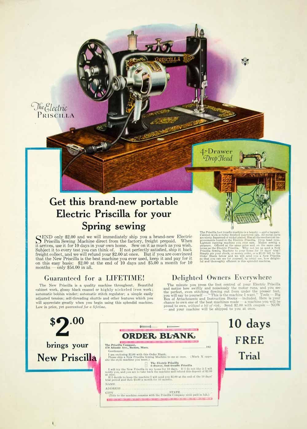 1928 Ad Antique Priscilla Portable Electric Sewing Machine ...