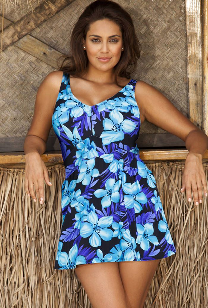 9a5c815724 Beach Belle Tahiti Plus Size V-Neck Swimdress