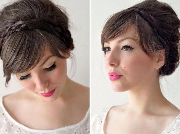 Ideen Zöpfchen Haarband Flechten Frisur Mit Pony Frisuren