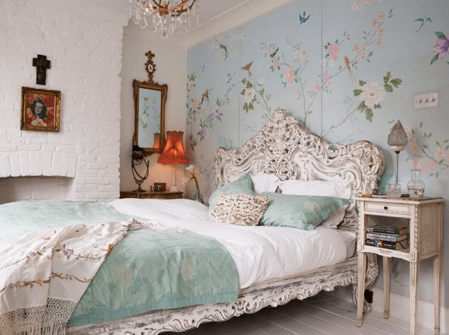 Bird Themed Home Decor Pale Sky Blue Wallpaper Bedroom With Ornate Detailing Wrought Iron Headboard