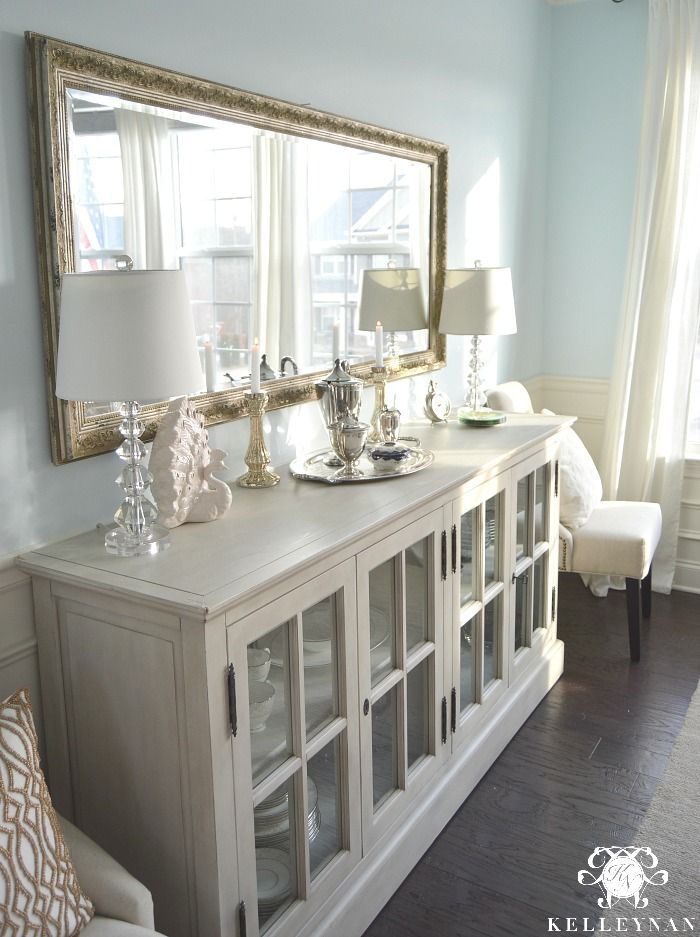 High Quality Restoration Hardware French Casement Sideboard Buffet In Blue Dining Room