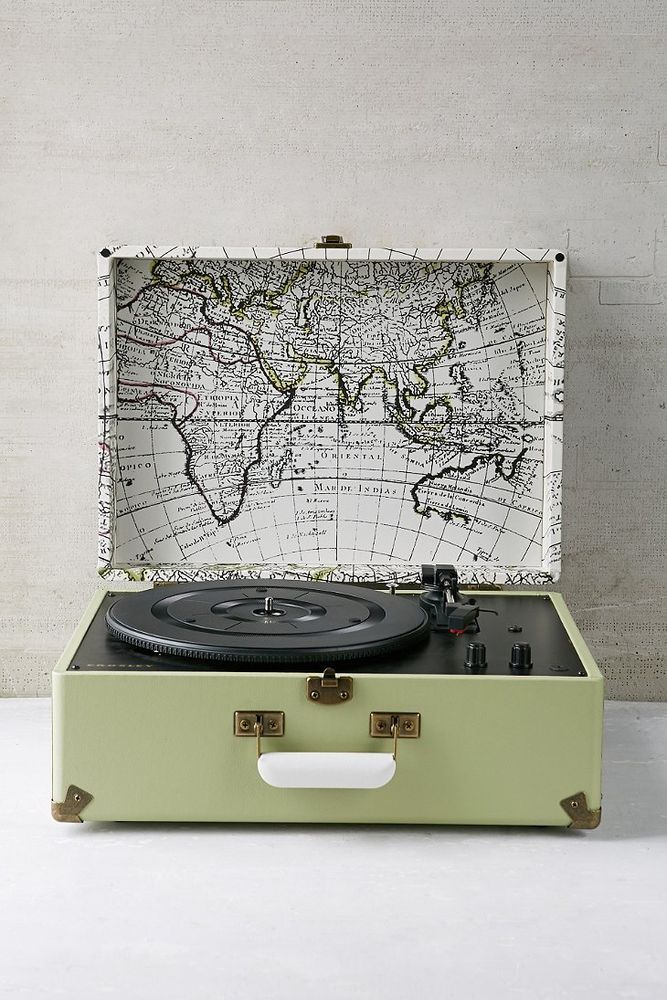 Crosley Keepsake USB Record Player - Urban Outfitters Exclusive Map - best of world map grey image