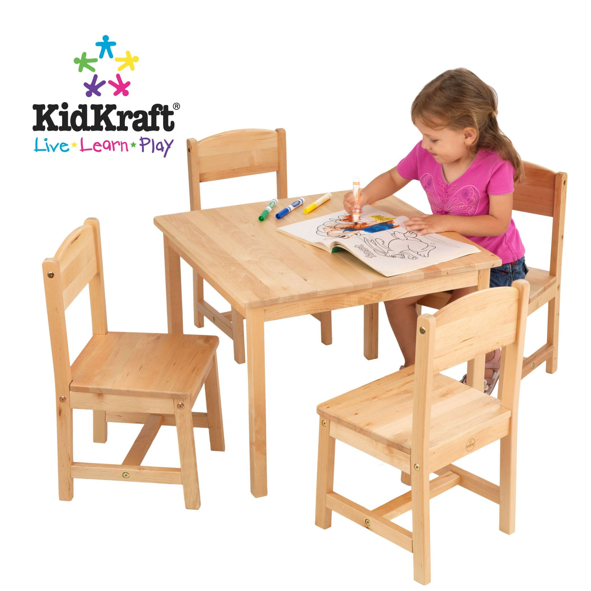 Farmhouse Kids 5 Piece Square Table and Chair Set Wooden
