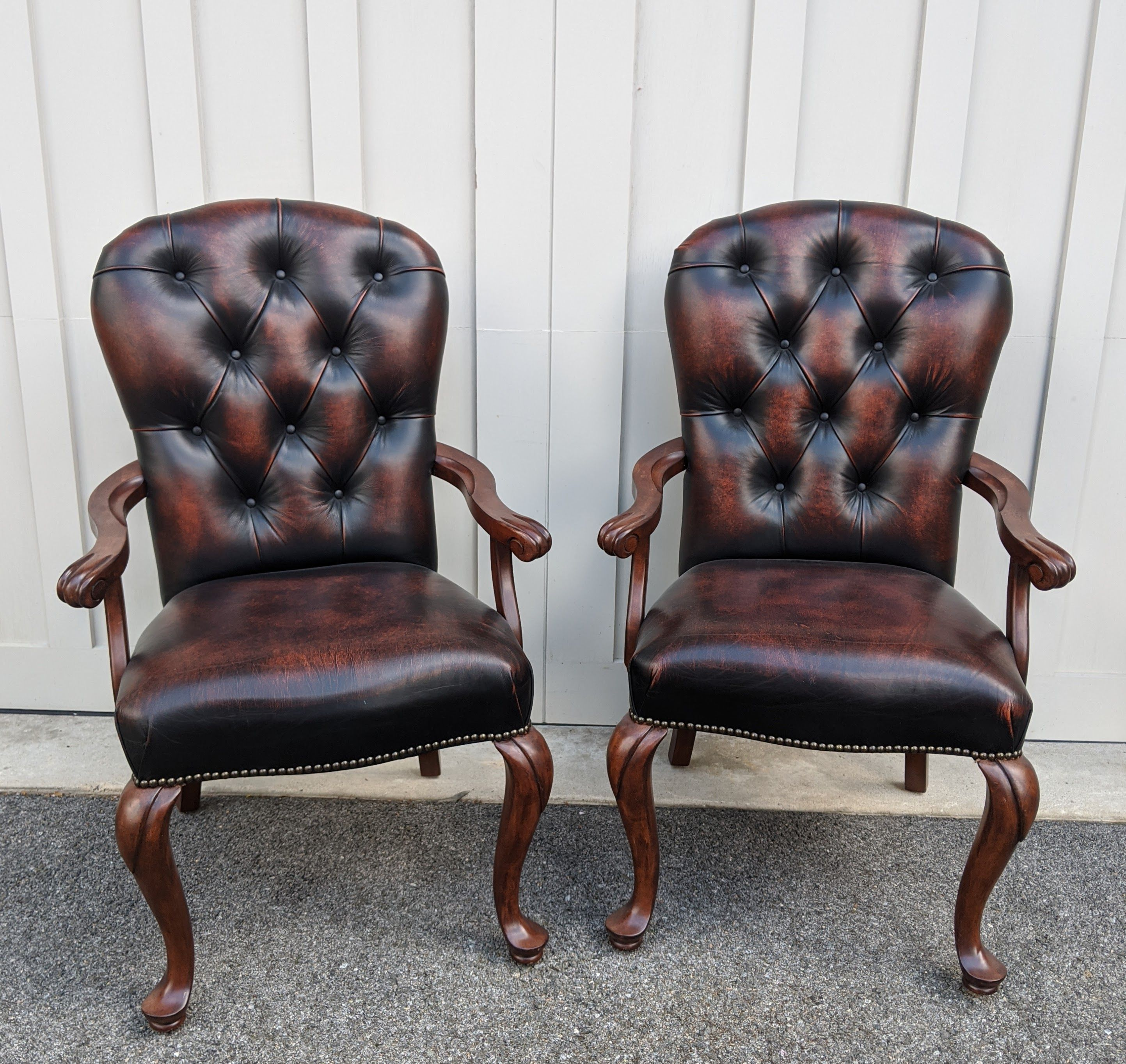 Pair Stanley Tufted Leather Chairs in 2020 Furniture