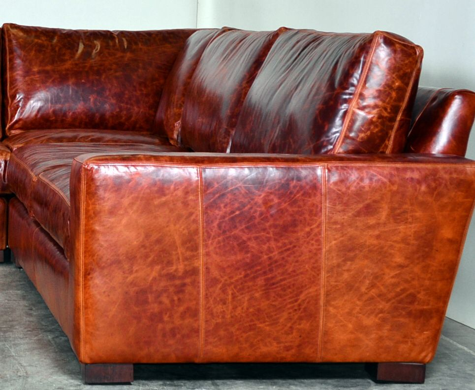Moore Giles Eco Cognac Leather Sofa
