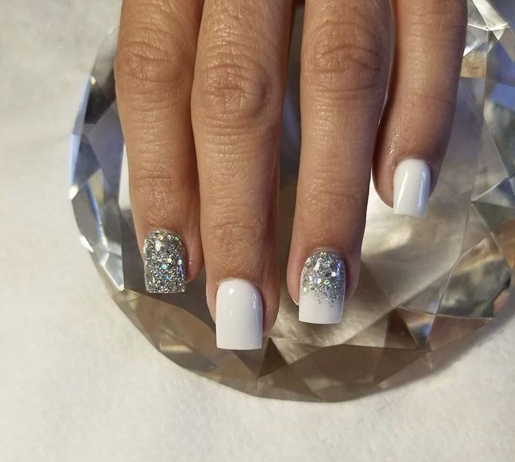 Acrylic Nails #square #white #glitter   Glitter nails acrylic