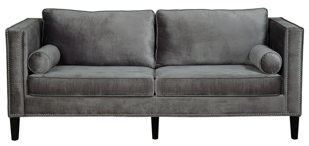 Handcrafted With Over Hand Applied Silver Nail Heads, The Soft Grey Velvet  Lowell Sofa Brings Style And Comfort To Any Space. This Fashionable Sofa  Boasts A ...