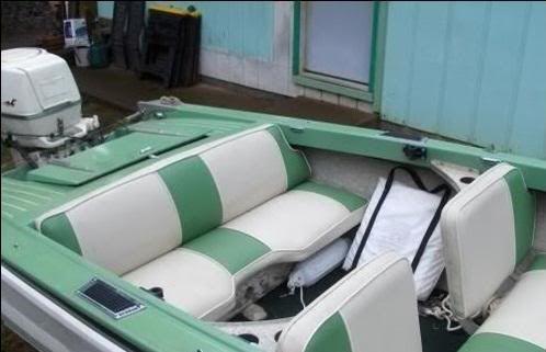 1961 Lonestar Flamingo Love The Bench Seat Boat Upholstery Boat Restoration Vintage Boats