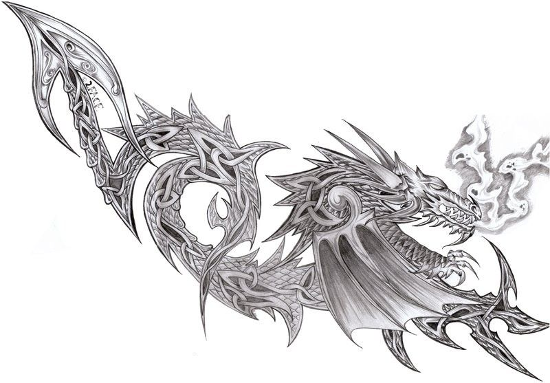 Dessin tatouage dragon celtique pinteres - Modele dessin dragon ...