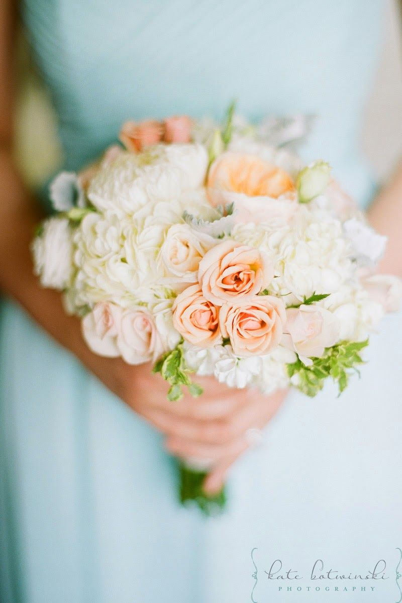 Romantic Wedding Bouquet With White Peach Florals Flower