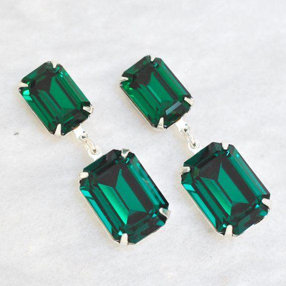 b1ff1c43aa074 Emerald Earrings Swarovski Crystal Green Vintage Rhinestone Earrings ...