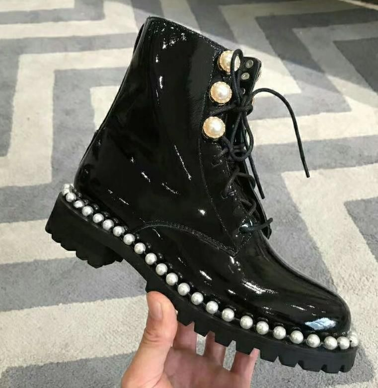 New Women/'s Embellished Girls Flat Ankle Boots Ribbon Laces Casual Ladies Shoes