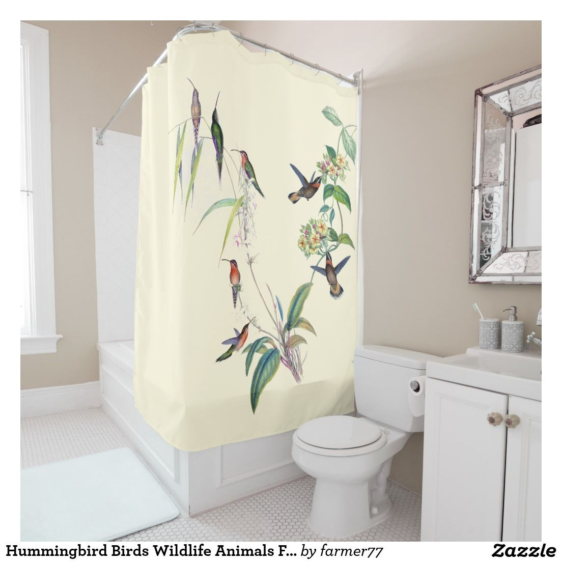 Hummingbird Birds Wildlife Animals Floral Flowers Shower Curtain