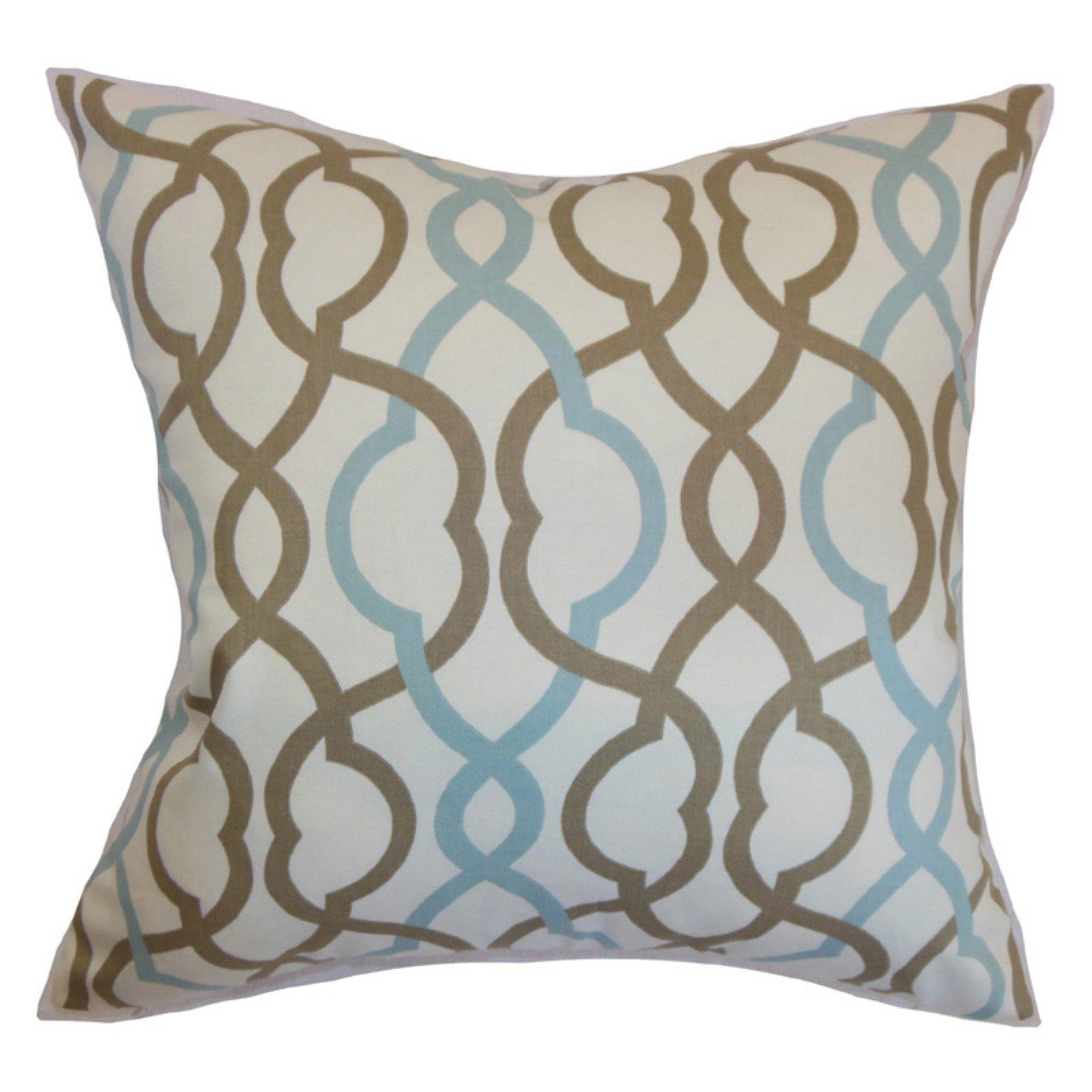 The Pillow Collection Adiyaman Moorish Geometric Pillow Aqua Cocoa The Pillow Collection Pillow Collection Geometric Pillow