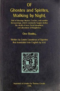 Of Ghosts and Spirits, Walking at Night by Ludwig Lavater