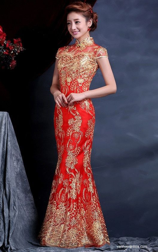 90031460b Chinese Wedding Dress Bridal Cheongsam Fishtail Bridal Gown Red ...