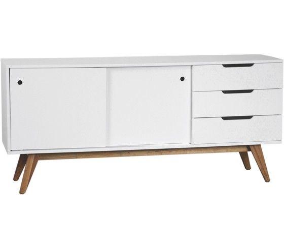 Stilvolles Sideboard In Weiß Und Walnussholz   Klare Linien Für Ihr Zuhause