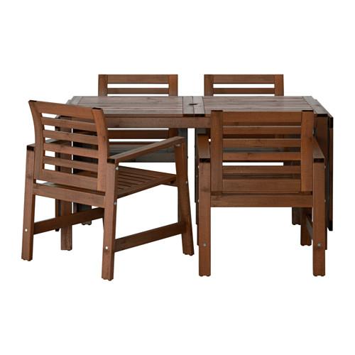 329€ IKEA - ÄPPLARÖ, Mesa+4sill reposab ext, tinte marrón, , Las hojas abatibles son fáciles de poner y quitar y te permiten adaptar el tamaño de la mesa a tus necesidades.En el centro del tablero hay un agujero para poner una sombrilla.Ponle un cojín que te guste y, además de personalizarla, te resultará aún más cómoda.Para prolongar la duración y conservar el aspecto natural de la madera, el mueble ha sido tratado con varias capas de barniz para madera semitransparente.