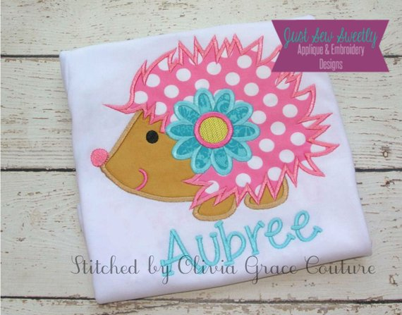 Cute hedgehog applique design embroidery machine pattern