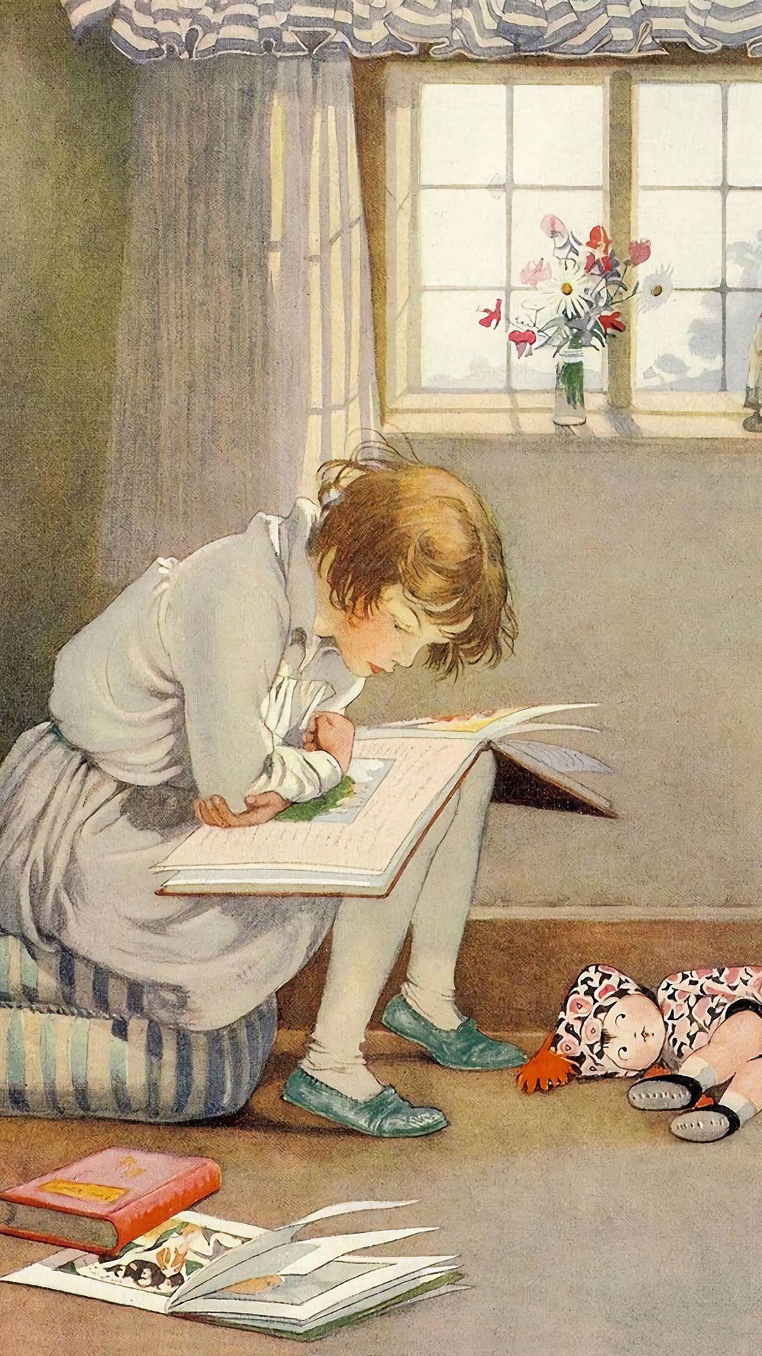 ホーナー C アップルトン Girl Reading 1080 1920 美術