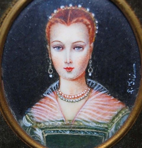 Antique Victorian French Miniature Portrait Ivory Painting of Young Woman | eBay