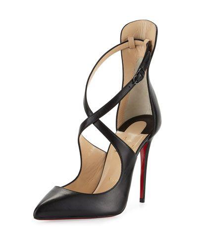 CHRISTIAN LOUBOUTIN Marlenarock Crisscross Leather Red Sole Pump, Black. # christianlouboutin #shoes #. Black High Heel ...