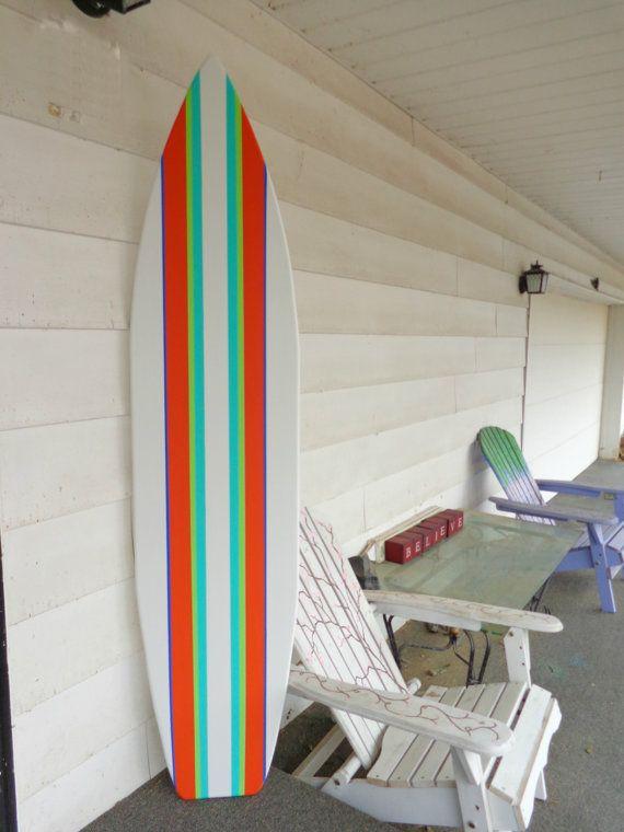 6 foot wood hawaiian white with multiple stripes surfboard wall art decor or headboard kids room