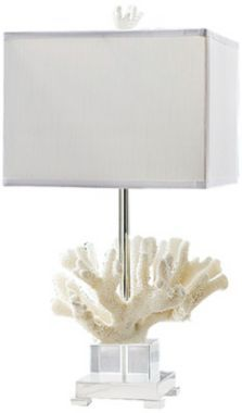 Coastal Regina Andrew Coral And Crystal On Chrome Base Table Lamp Contemporary Lamps
