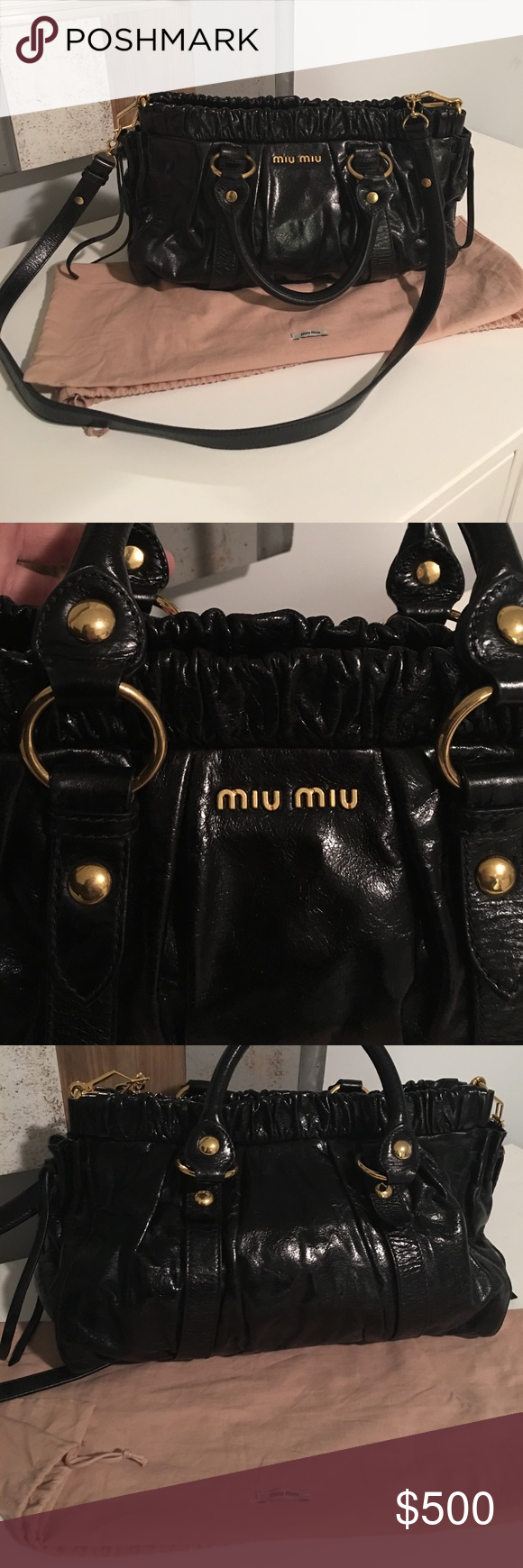 99d9656149cc Auth Miu Miu Black Gathered Tote Gold Hardware This is an authentic MIU MIU